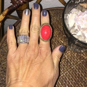 NORDSTROM Red Stone and Gold Statement Ring Size 5